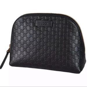 Gucci Black Leather Cosmetic Bag